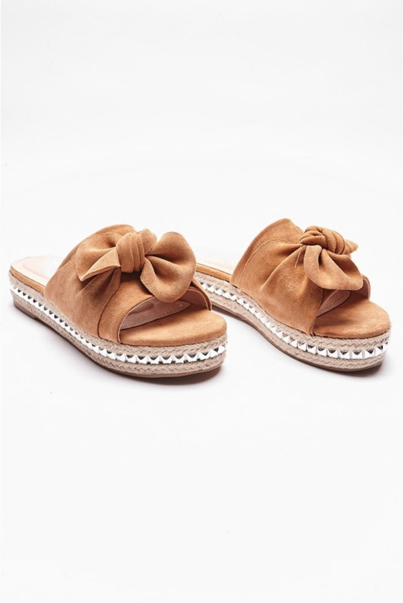 tan faux suede bow flatform sliders