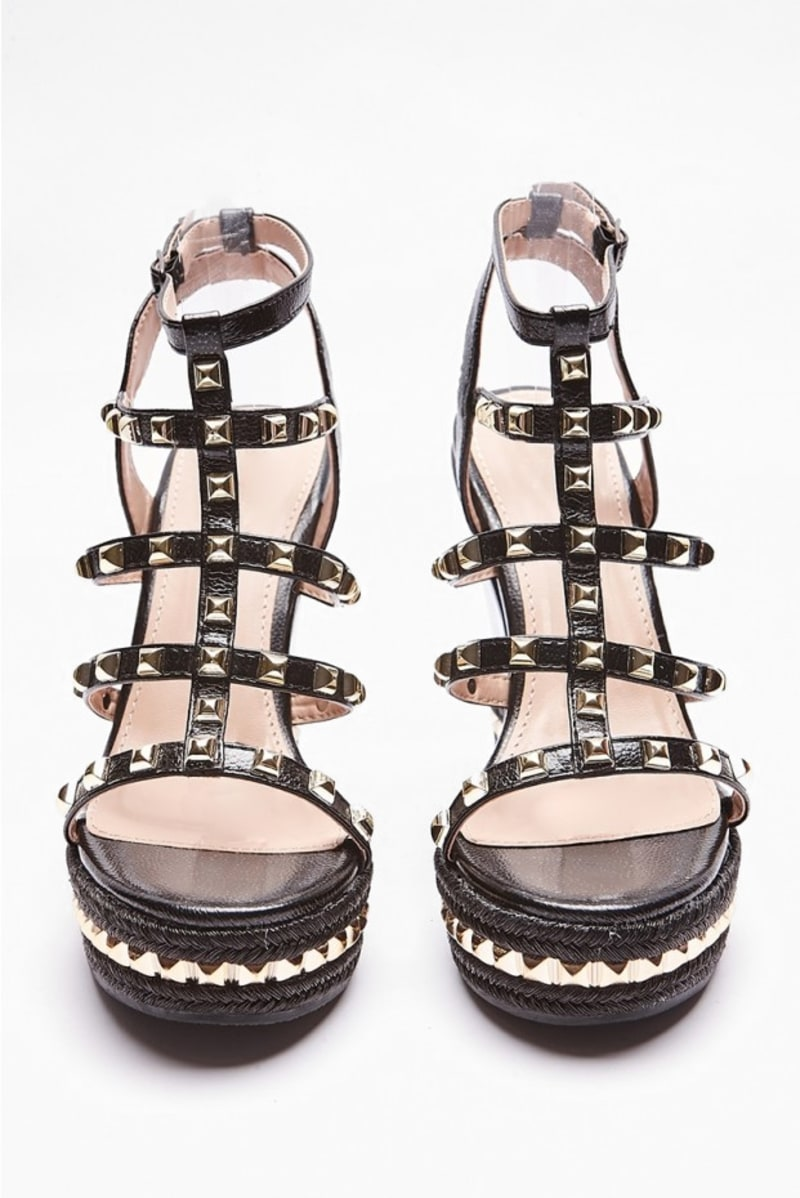 SALEEMA BLACK STUDDED STRAP WEDGES