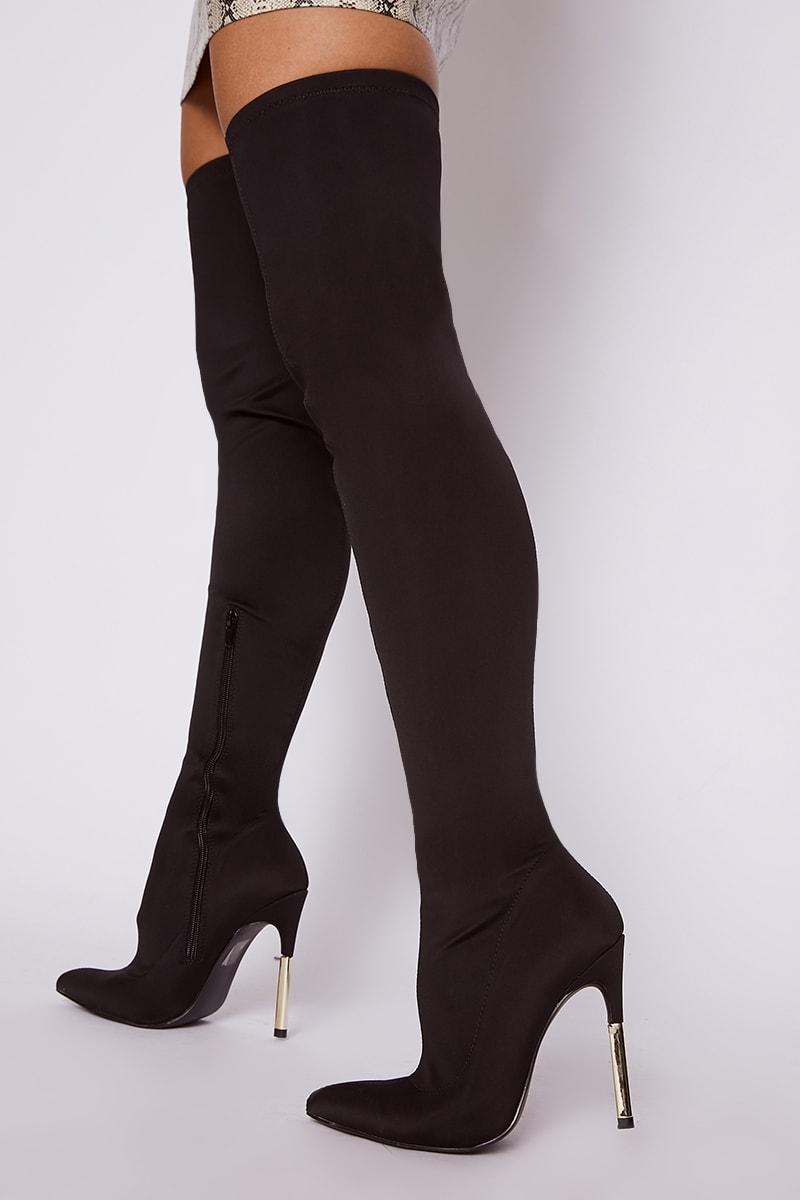 black colourblock heel lycra over the knee boots