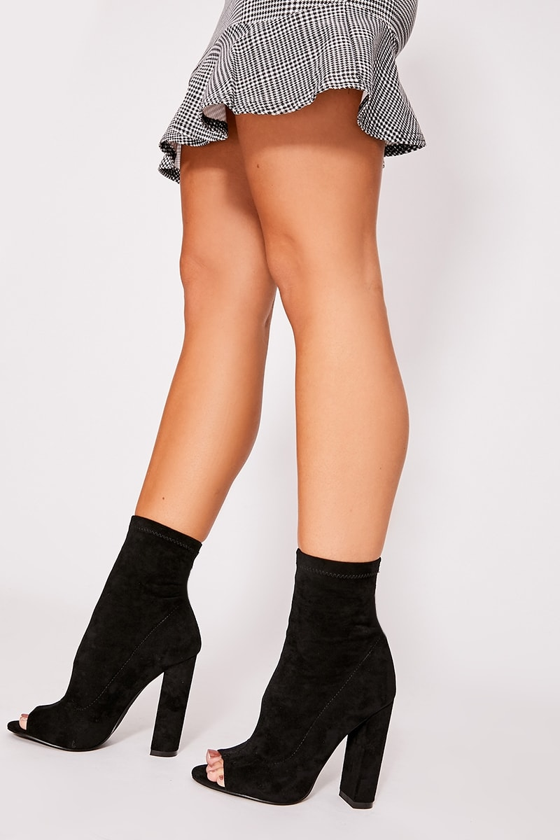 black faux suede peeptoe heeled ankle boots