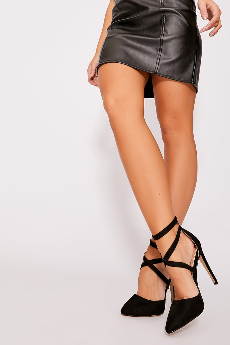 black faux suede cross strap court heels