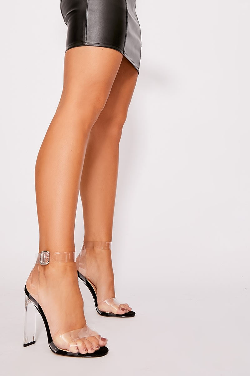 black clear strap detail barely there heels