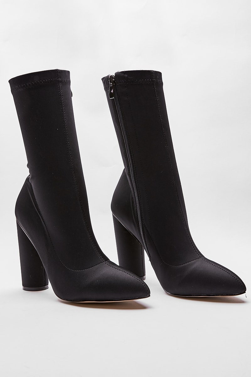 OBI BLACK LYCRA HEELED SOCK BOOTS