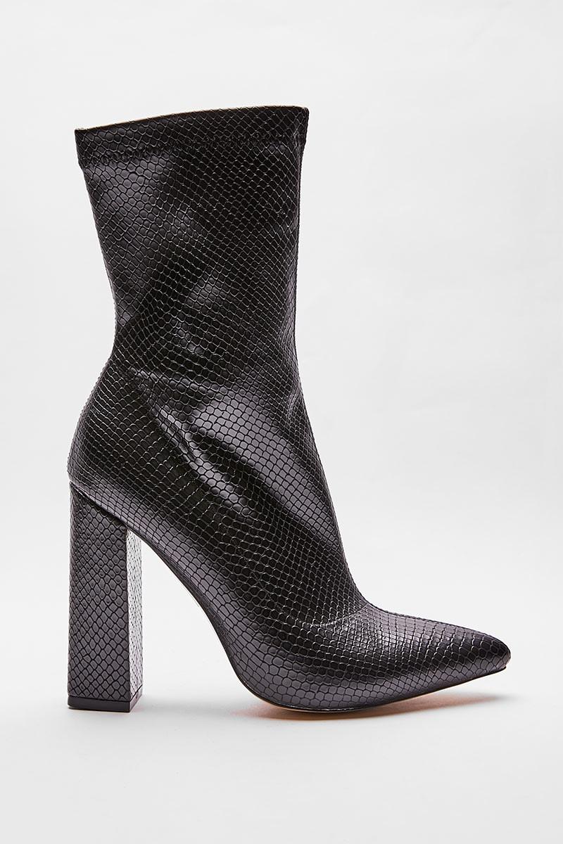 black snake print square heeled boots