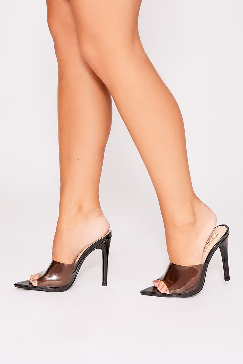black clear stiletto mules
