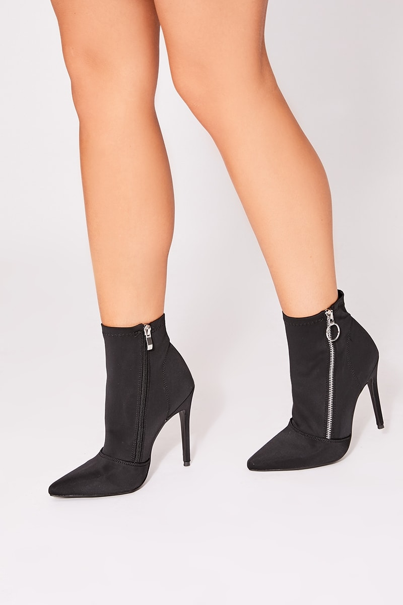 black stretch heeled sock boots