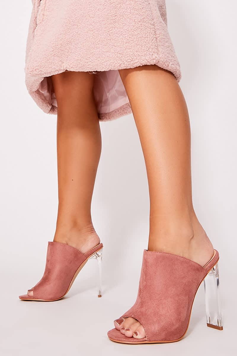 blush faux suede clear heeled mules