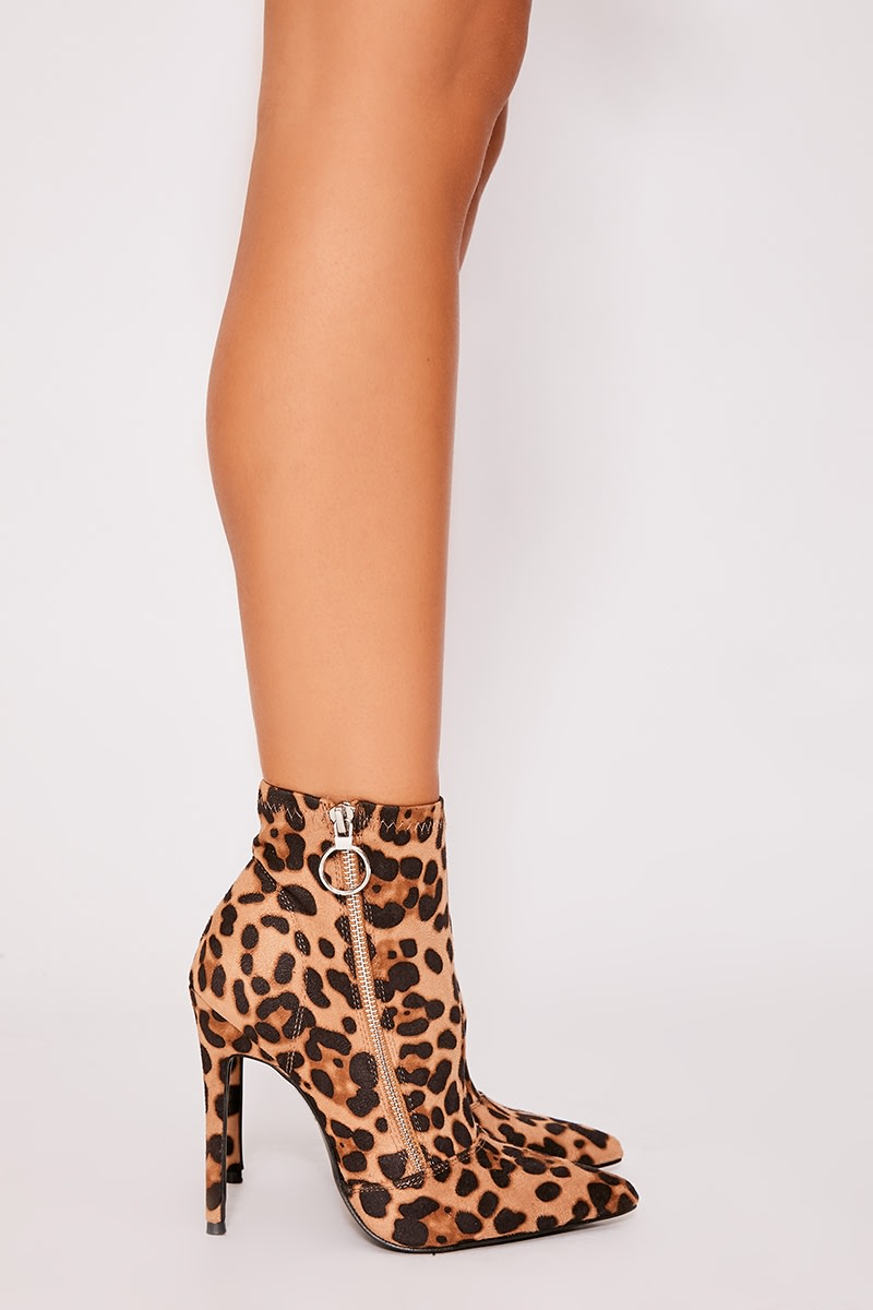 brown leopard print faux suede heeled sock boots