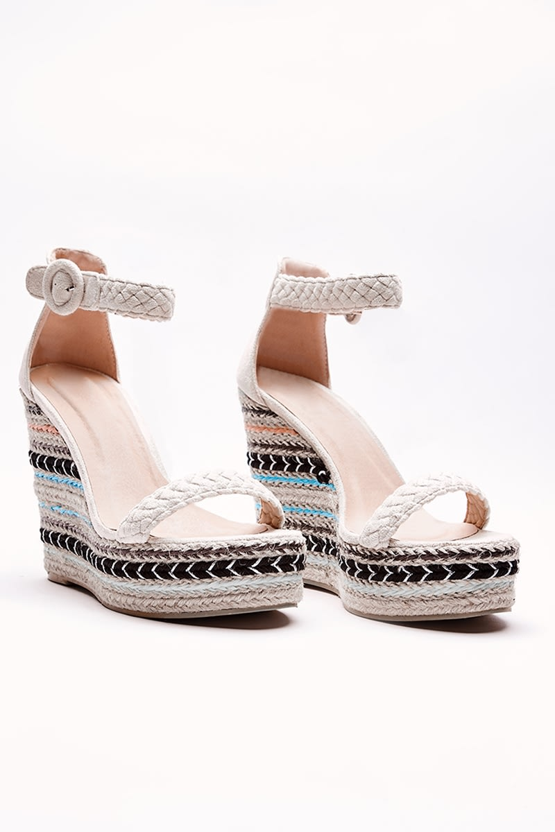cream aztec pattern wedges