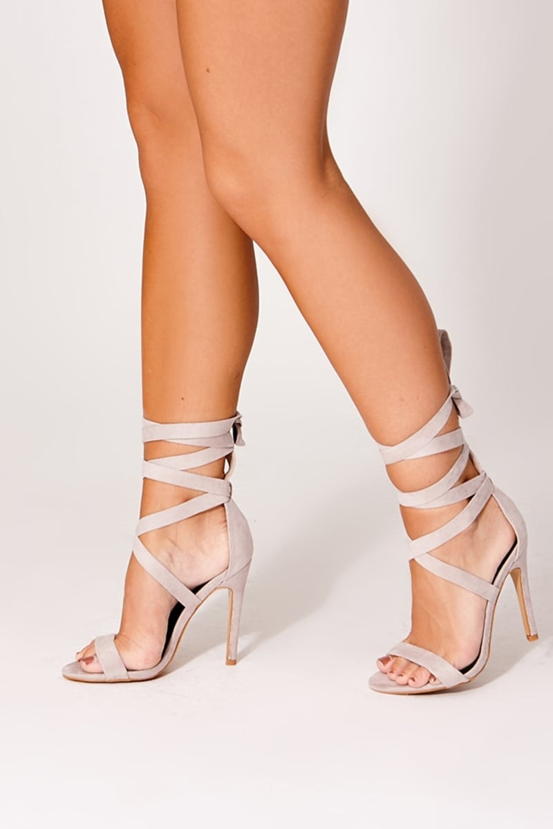 grey cross strap barely there heels