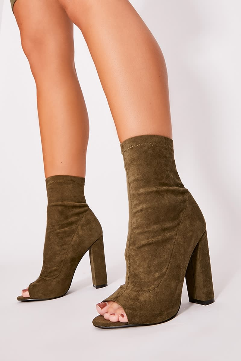 khaki faux suede peeptoe heeled ankle boots