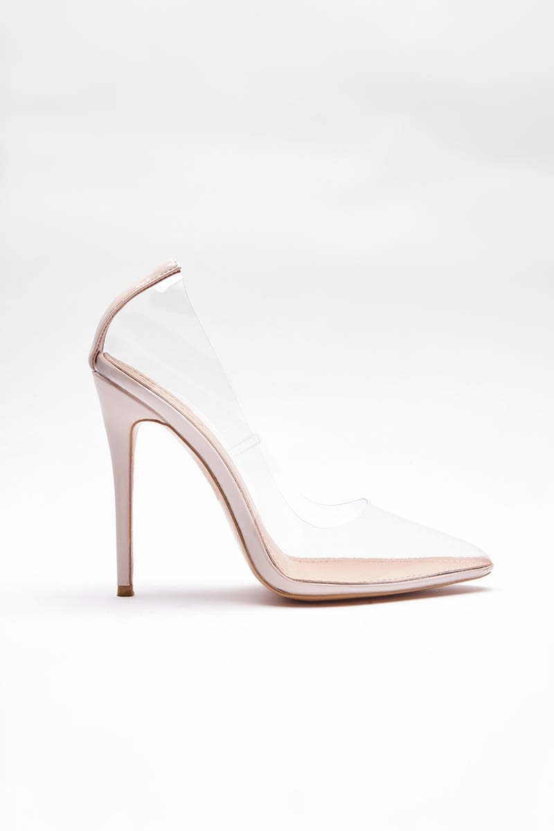 nude clear court heels