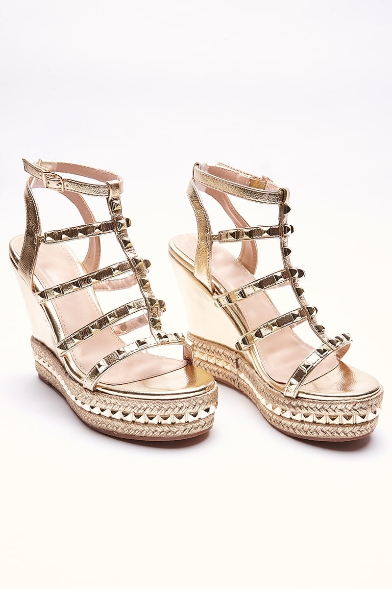 SALEEMA NUDE STUDDED STRAP WEDGES