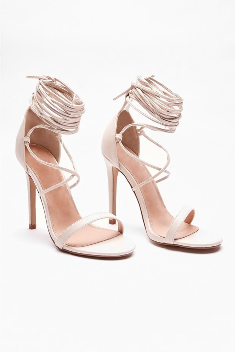 nude strappy barely there heels