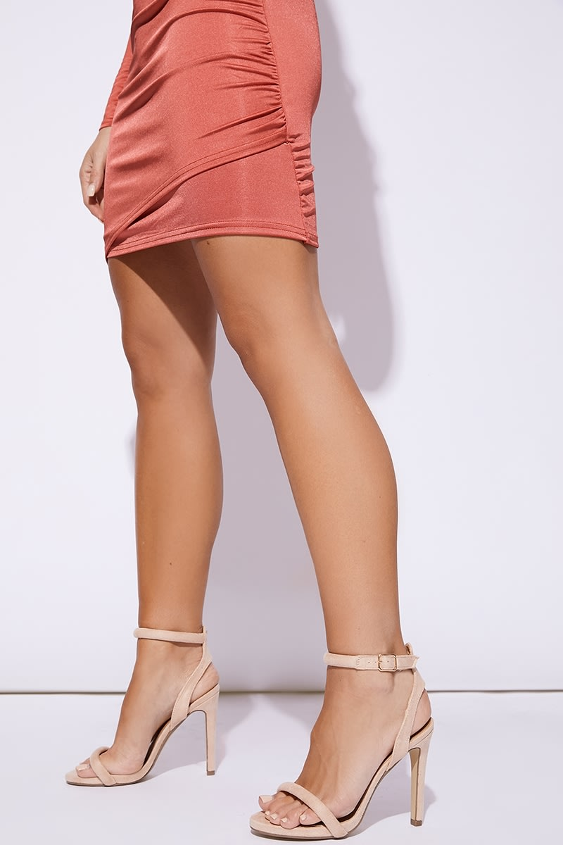 nude cut out back barely there heel