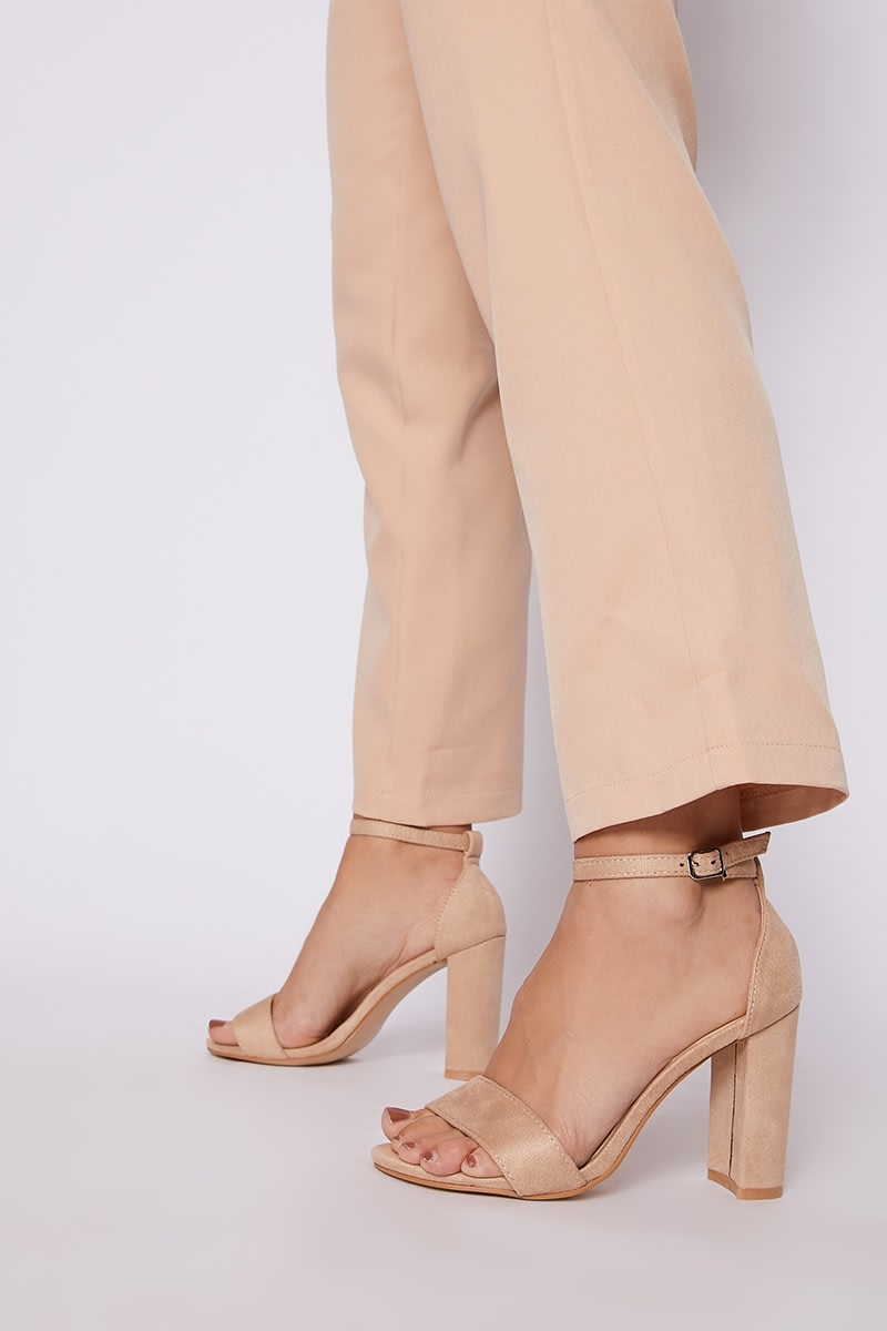 nude faux suede ankle strap barely there block heels