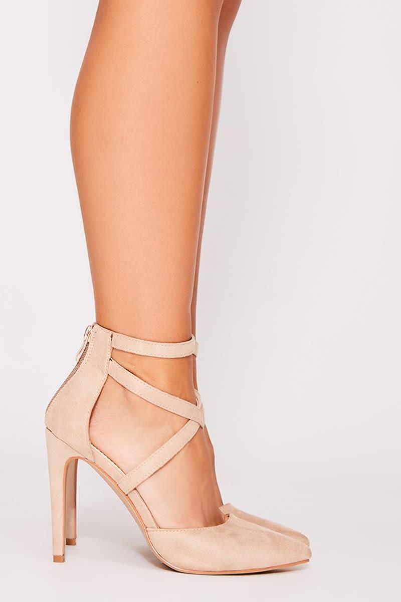 nude faux suede cross strap court heels