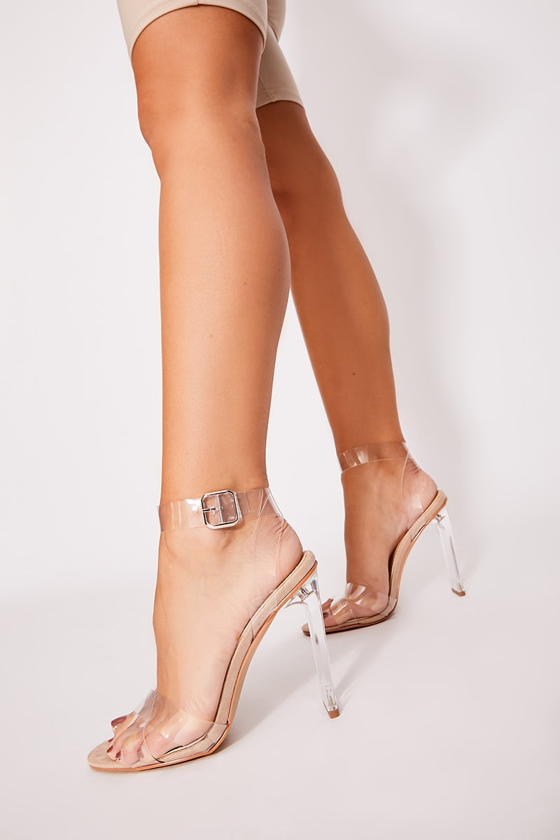 nude clear strap detail barely there heels