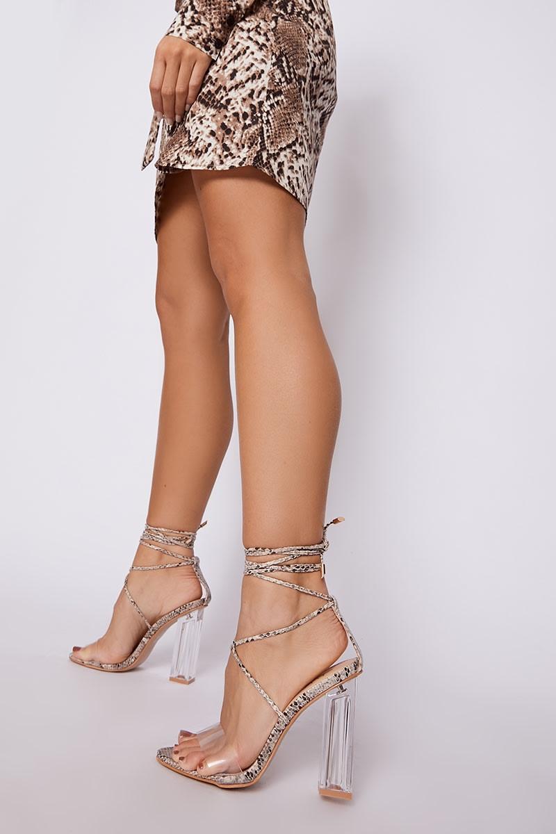 nude snake print clear strap heels