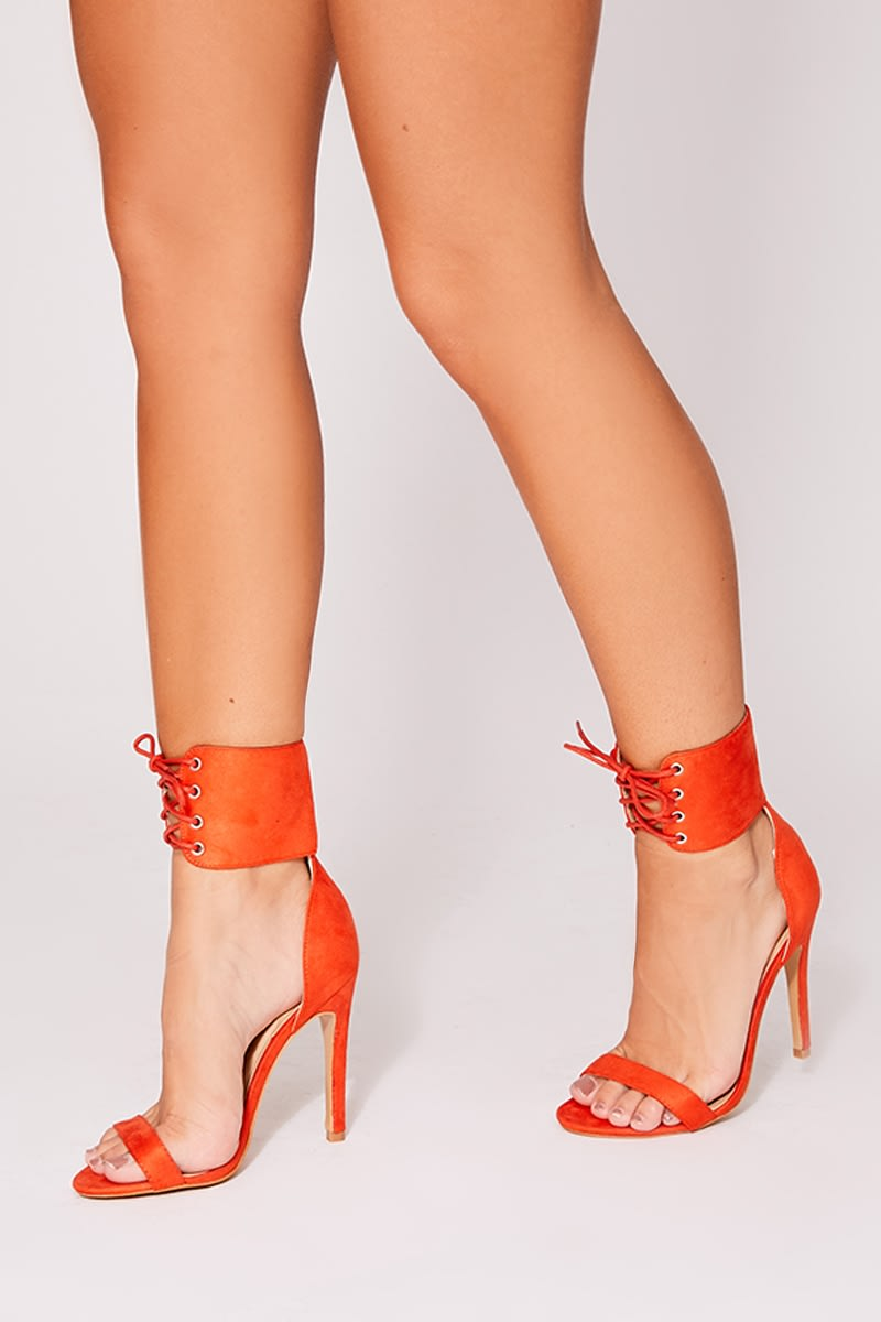 MARGY ORANGE LACE UP DETAIL BARELY THERE HEELS