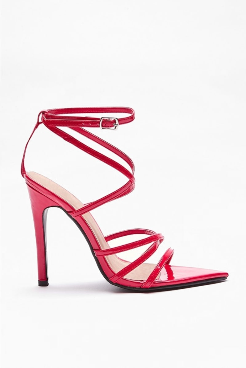 VARIA RED STRAPPY POINTED HEELS