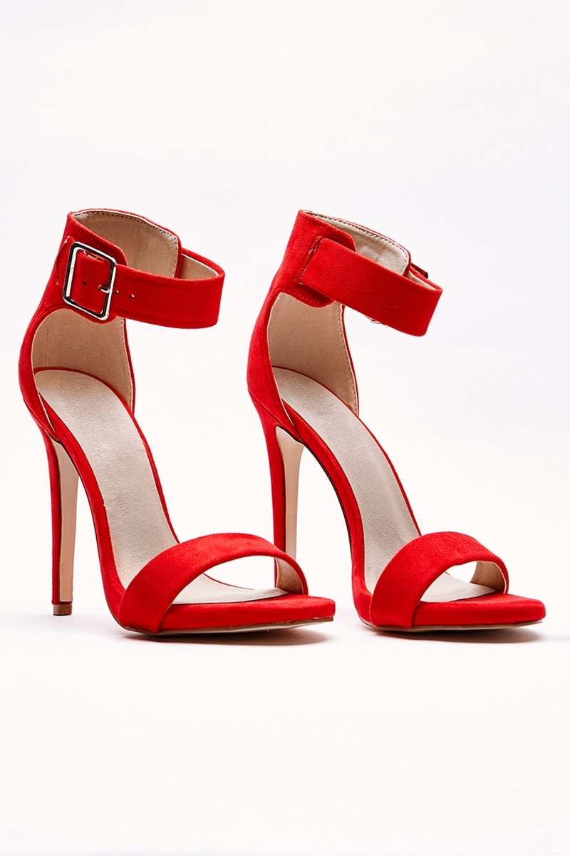 VALARY RED BUCKLE DETAIL BARELY THERE HEELS