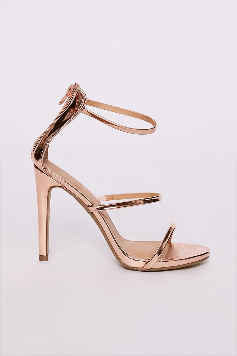 Cindia Rose Gold 3 Strap Barely There Heel | In The Style