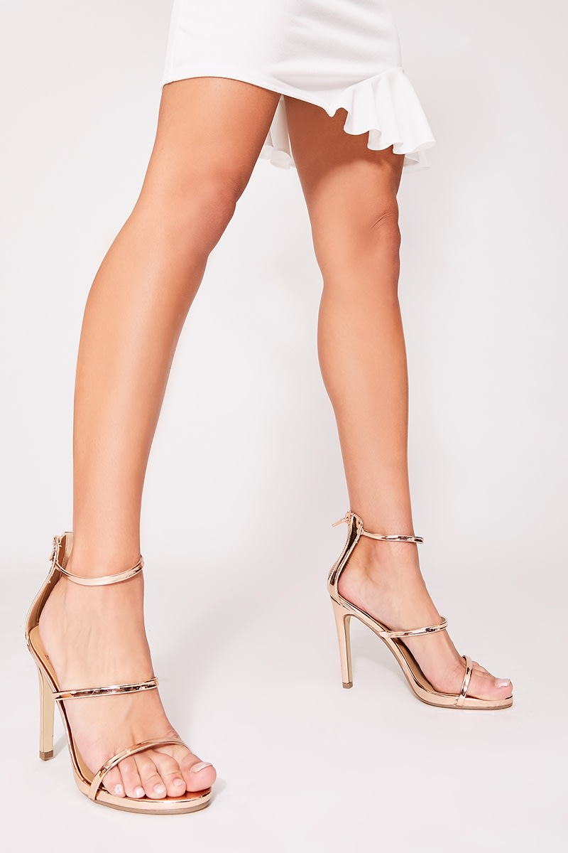 rose gold 3 strap barely there heel