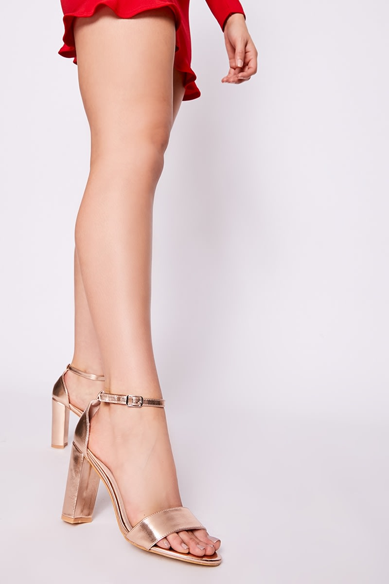 rose gold metallic ankle strap barely there block heels