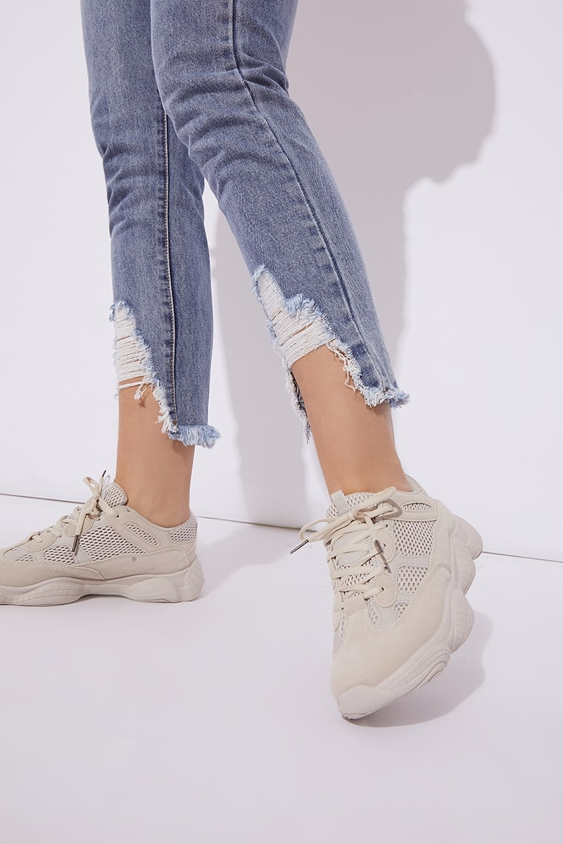 Beige Chunky Trainers | In The Style