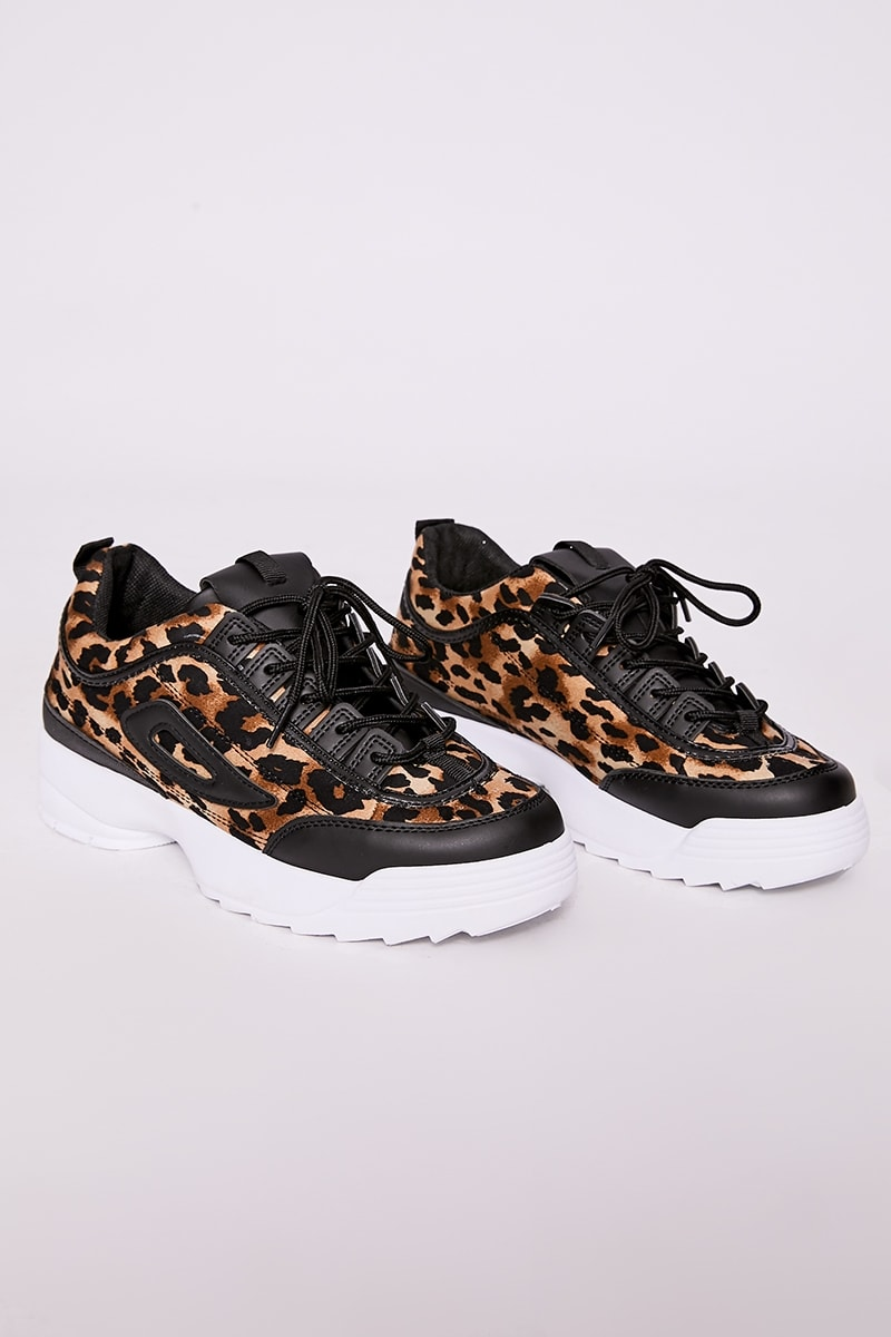 Brown Leopard Print Chunky Sole