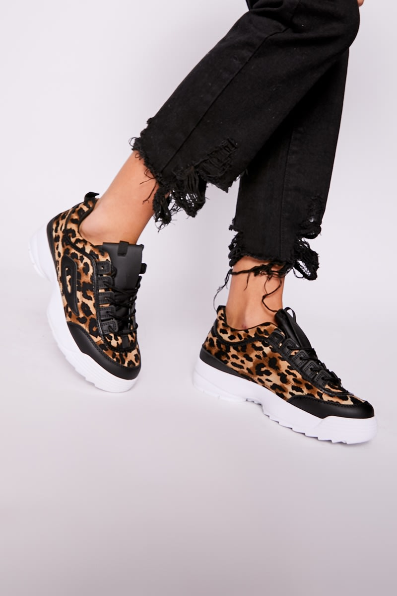 brown leopard print chunky sole trainers