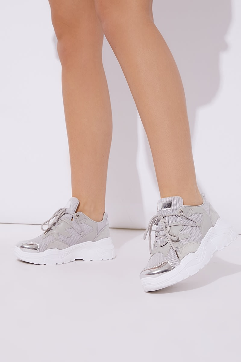 GREY METALLIC CHUNKY SOLE TRAINERS