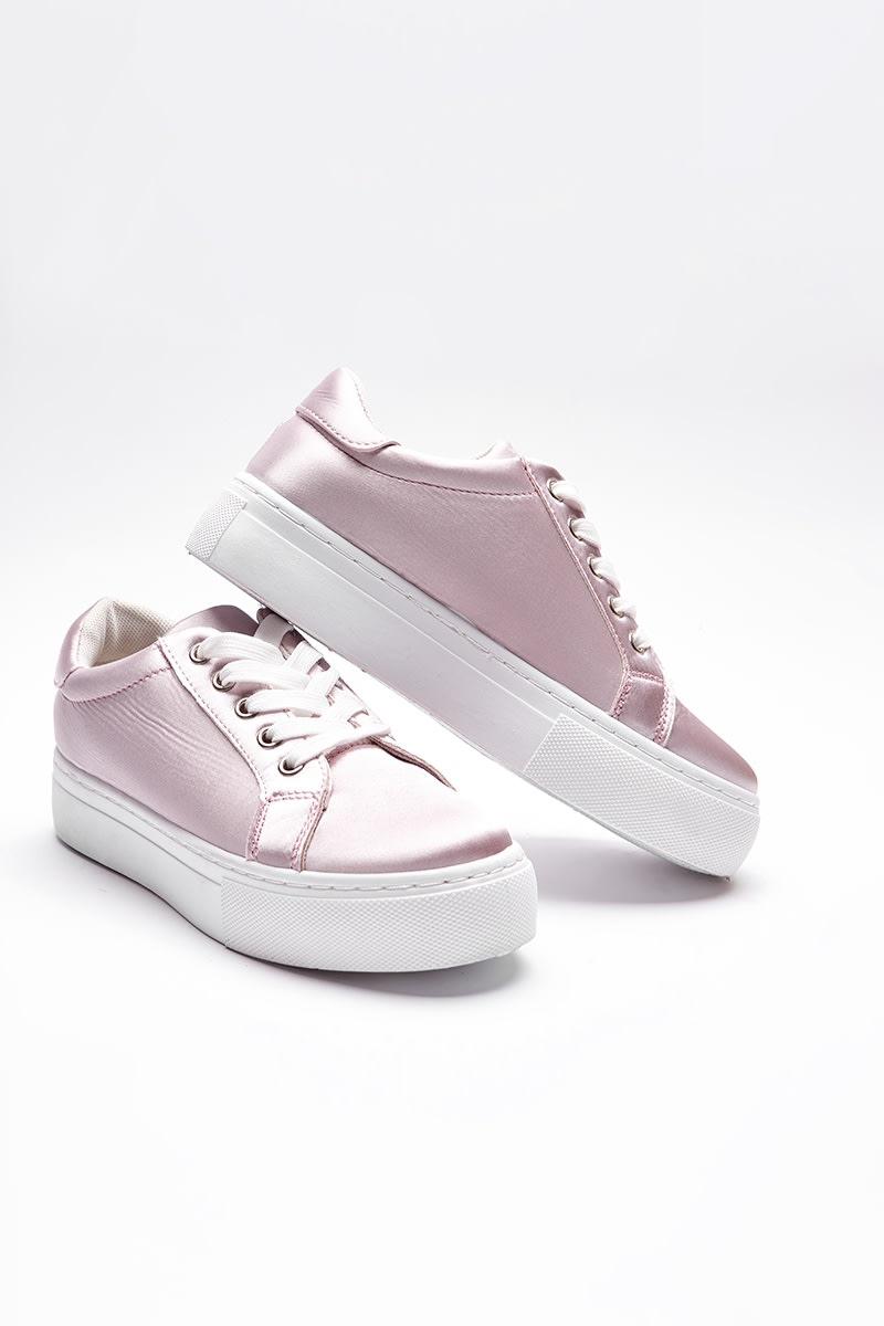pink satin flatform trainers