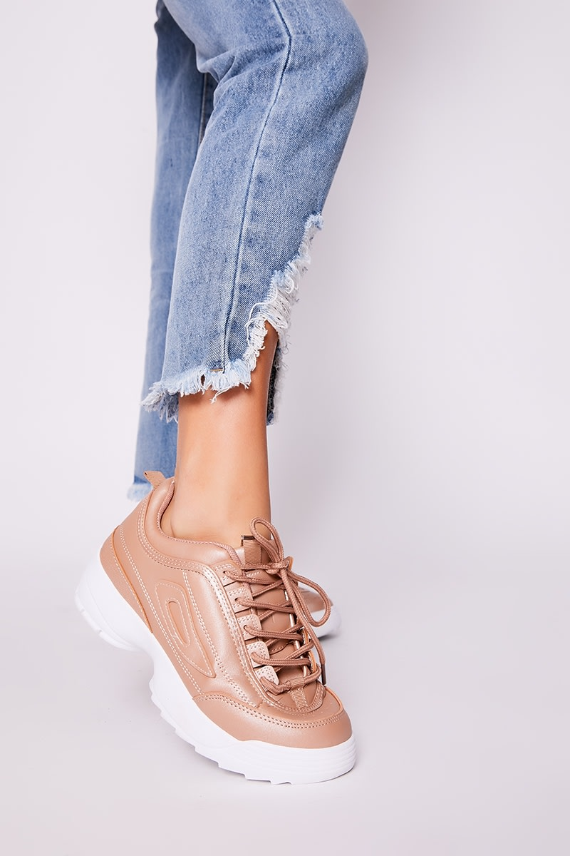 rose gold chunky sole trainers