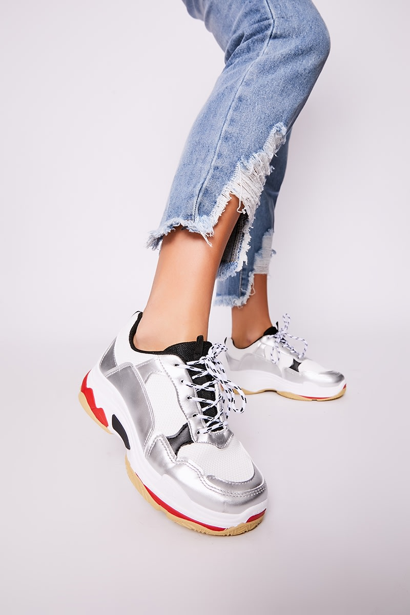 white chunky trainers