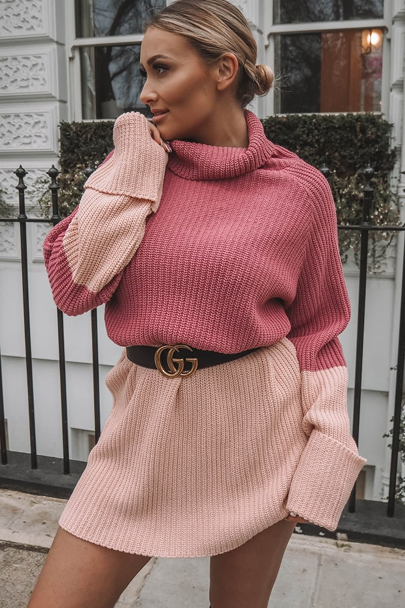 pink contrast panel high neck knitted jumper dress