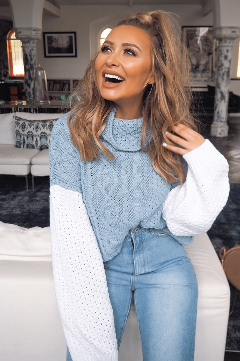 blue and white cable knit jumper