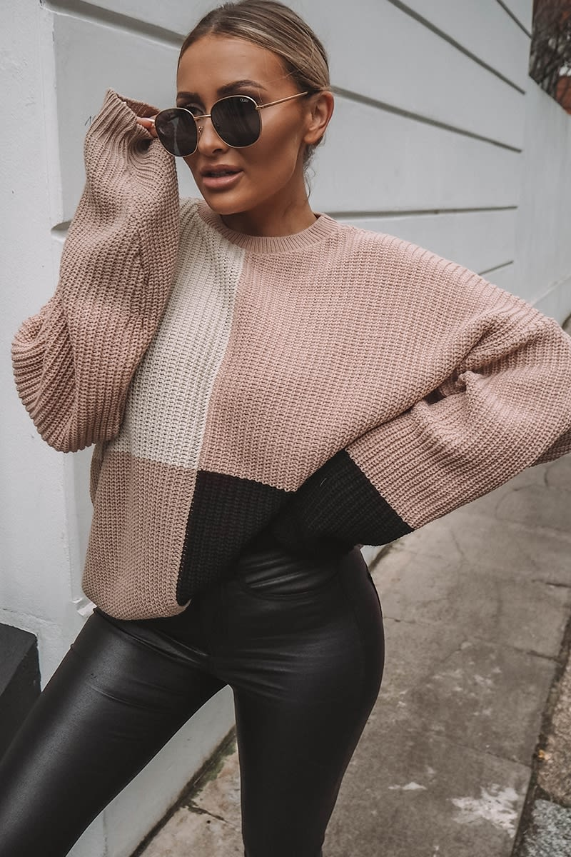 nude multi colour block oversized knitted jumper