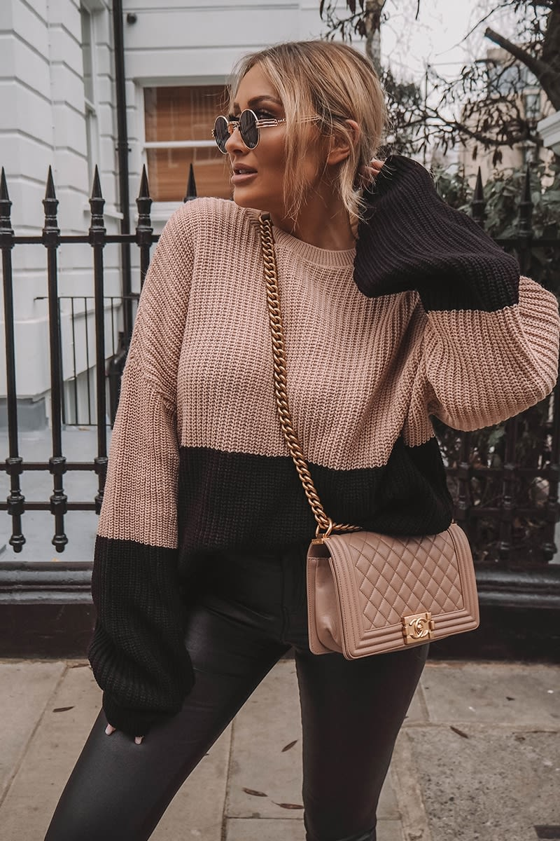 nude colour block oversized knitted jumper