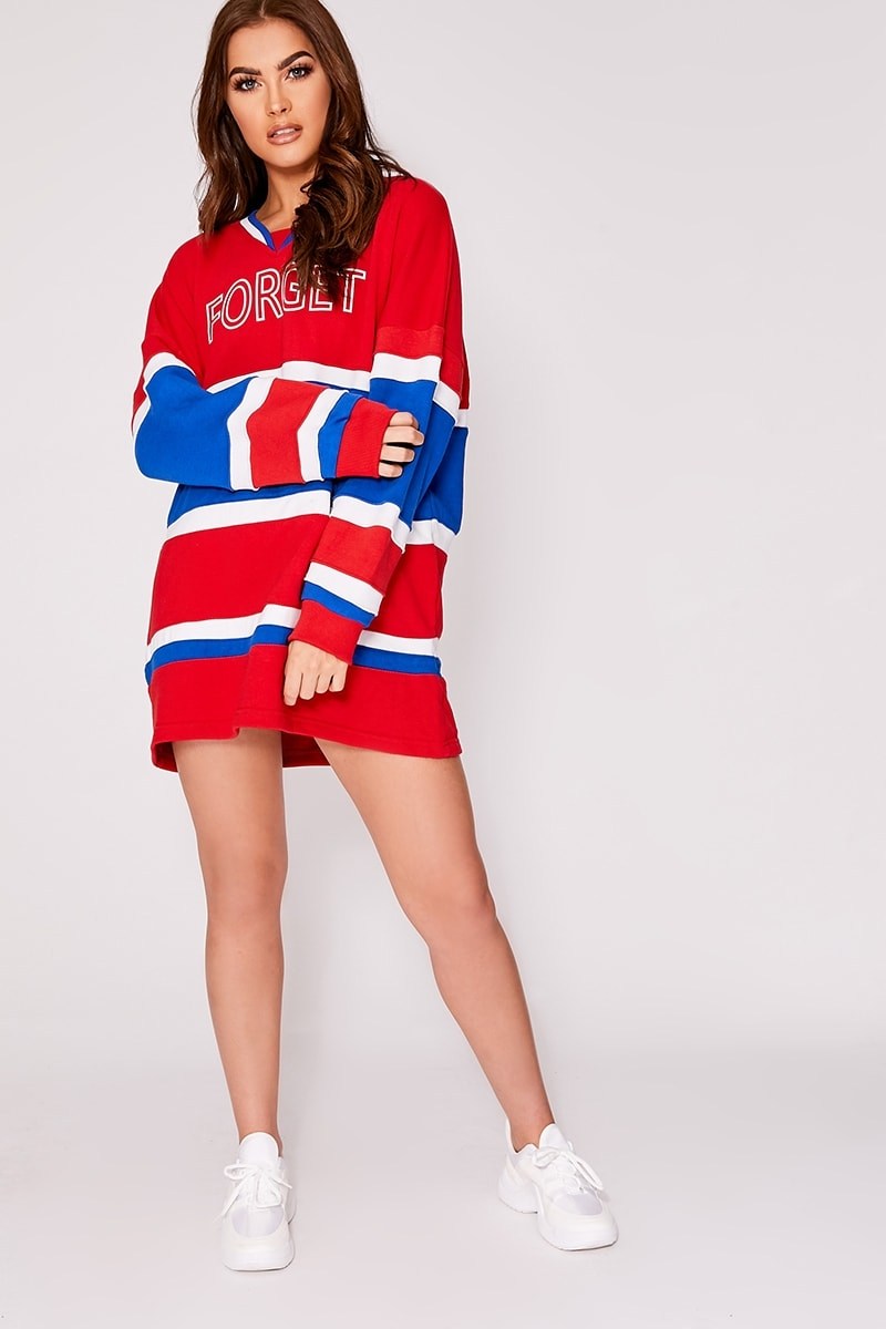 red forget the rules oversized colour block sweatshirt