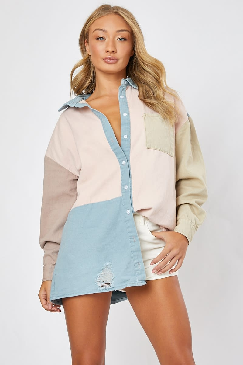 multi colour block denim shirt