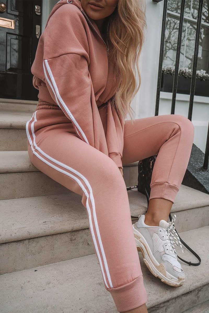 blush oversized contrast stripe joggers