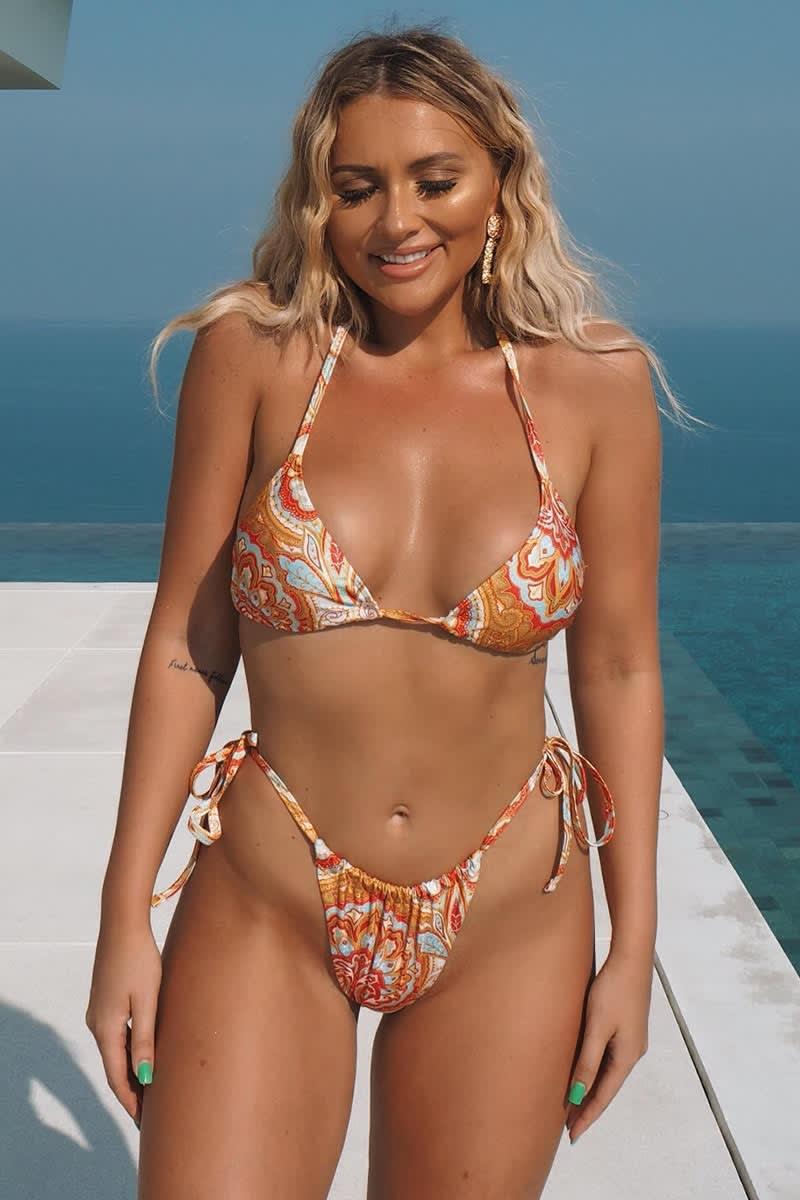orange paisley tie side bikini bottoms