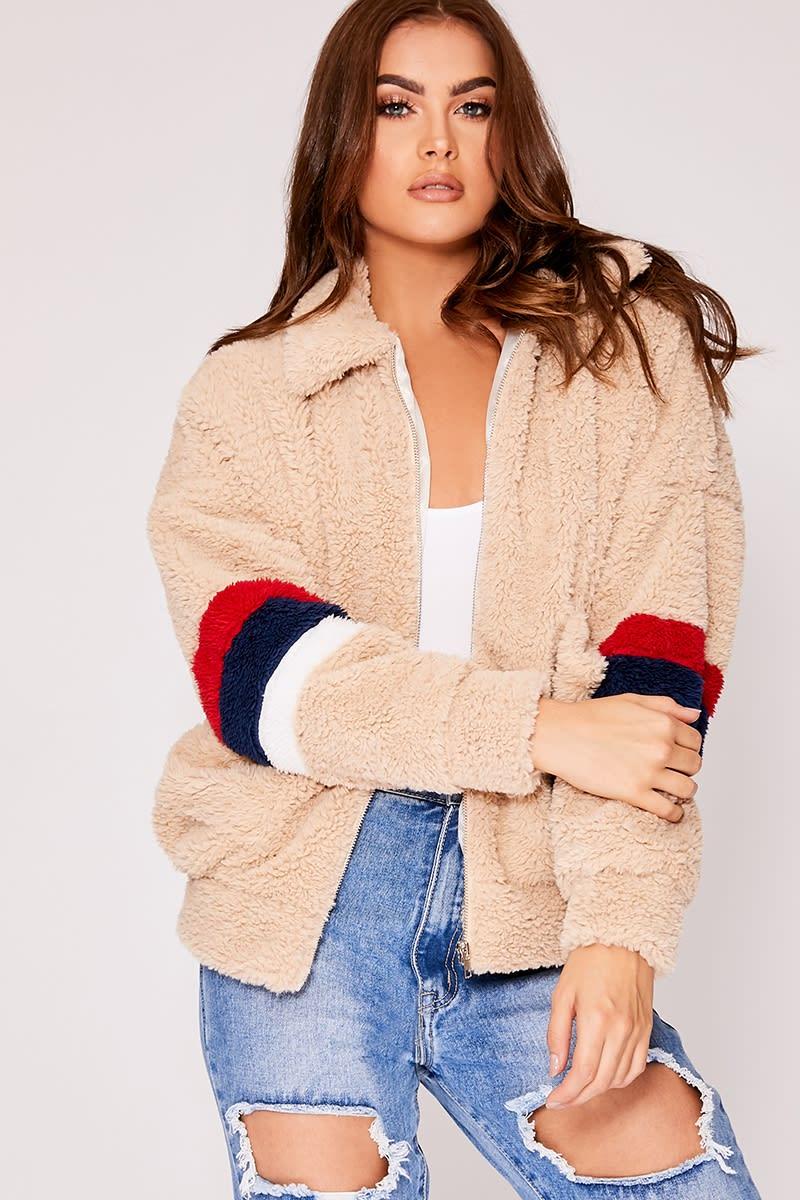 stone contrast stripe teddy bomber jacket