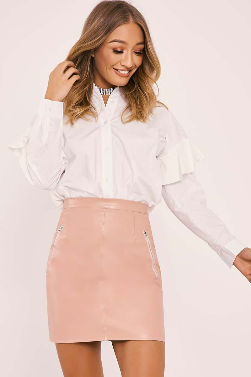 rose faux leather mini skirt