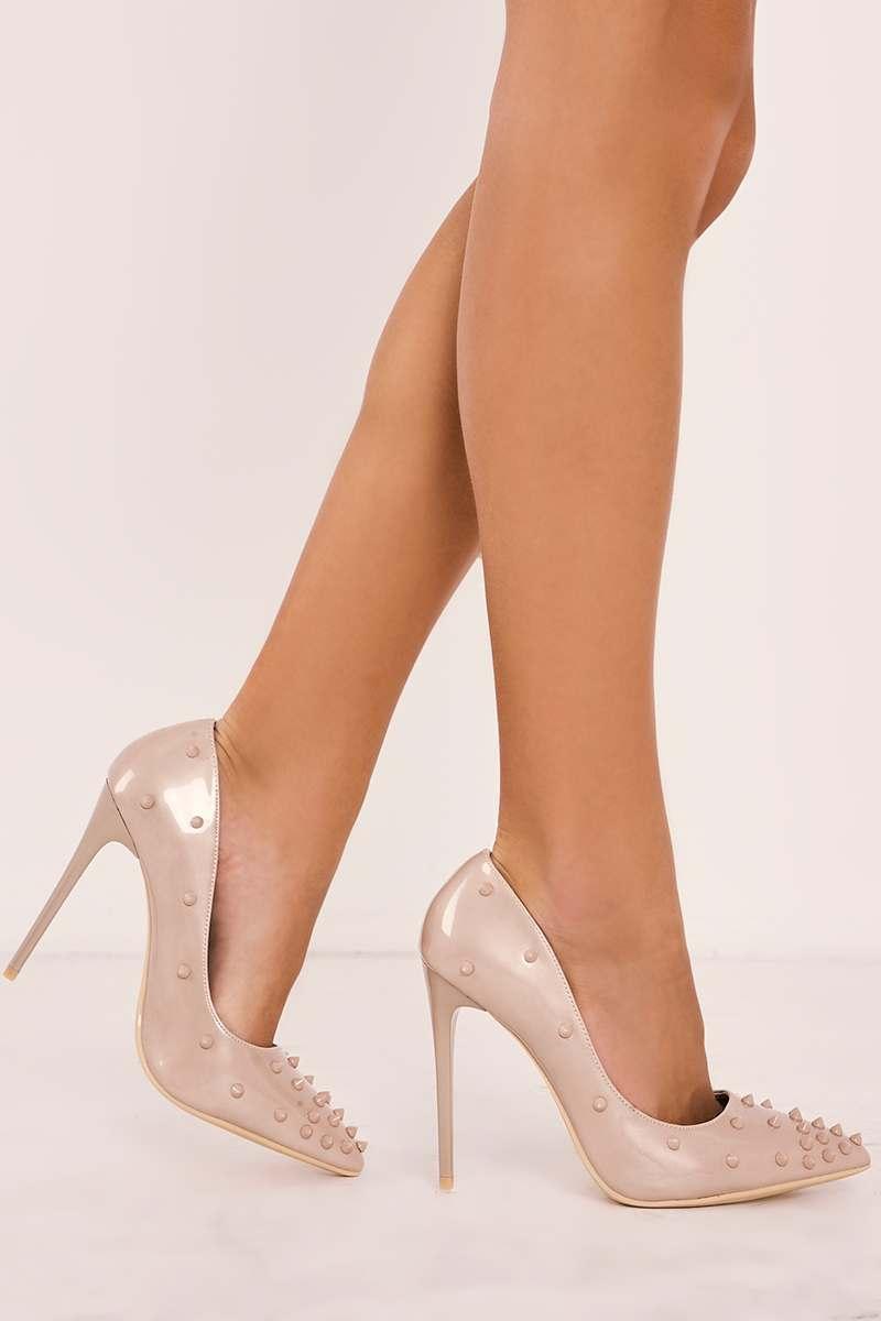 nude spike stud court heels