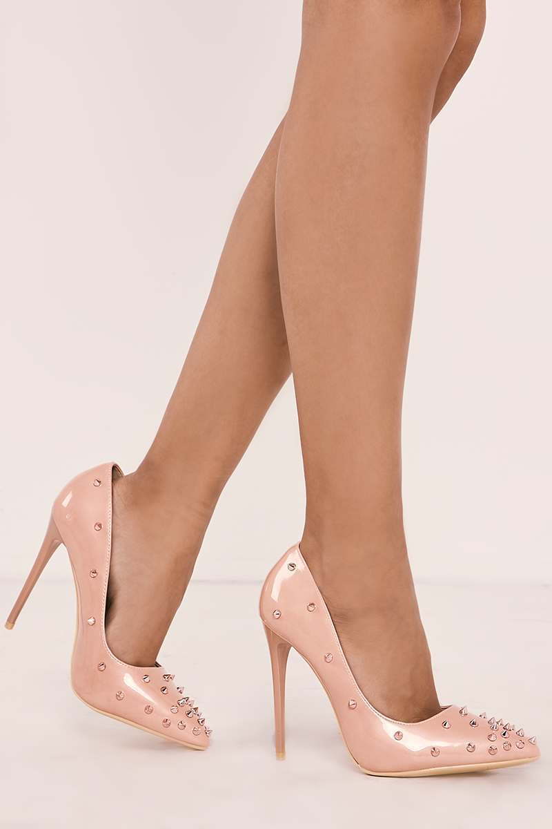 pink spike stud court heels