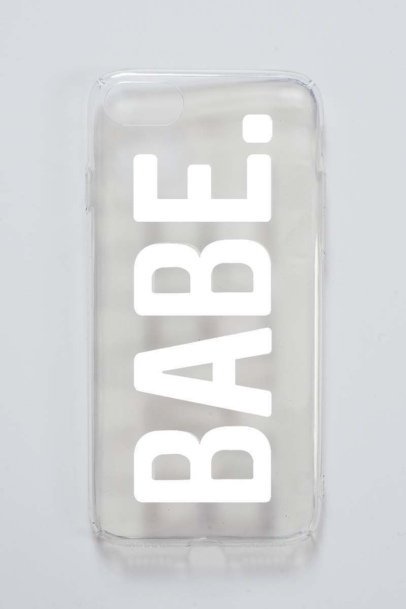 clear slogan 'babe' phone case