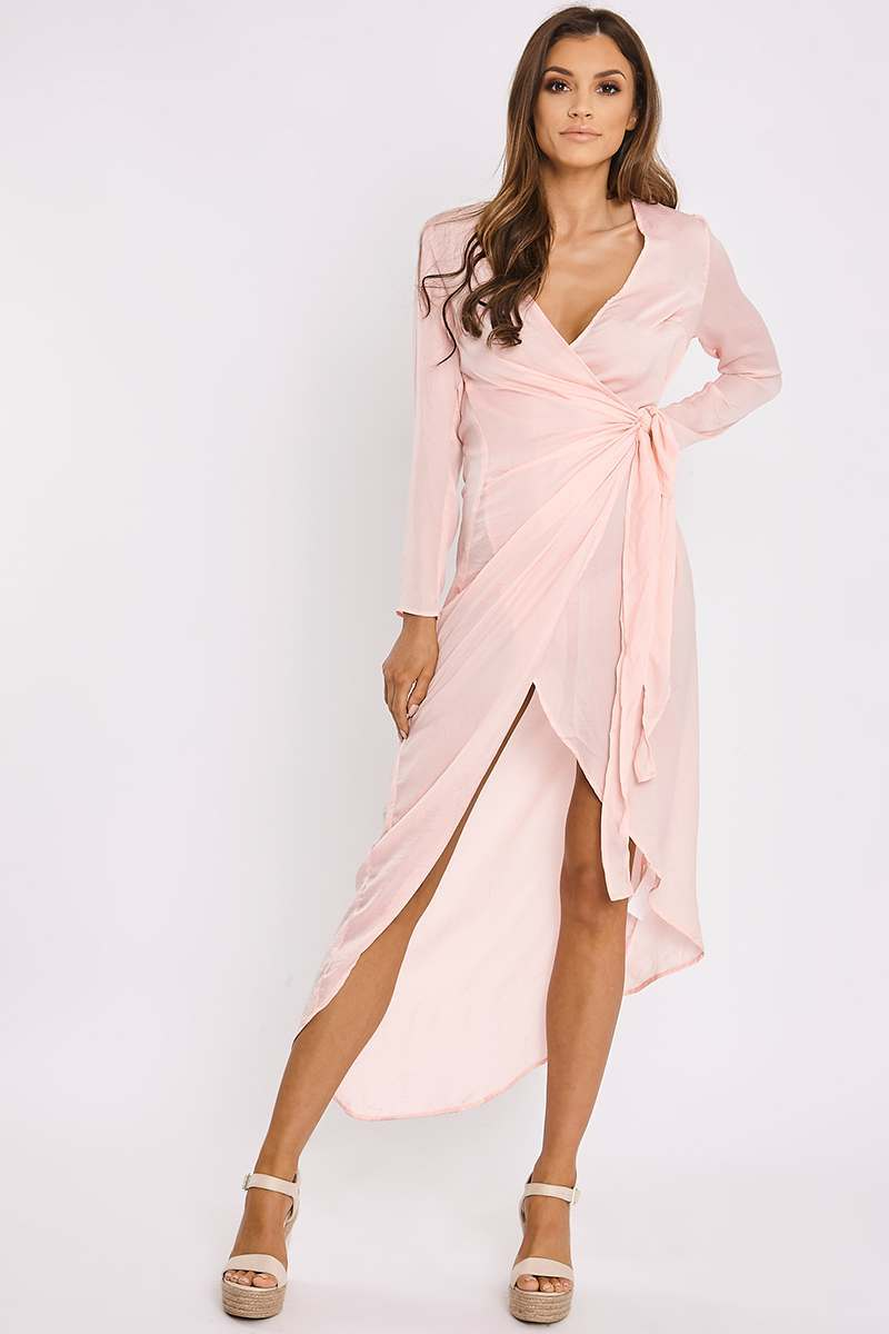 EMMALYN PINK SILKY WRAP MAXI SHIRT DRESS